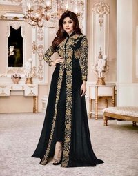 aashirwaad shamita gold  black embroidered suit