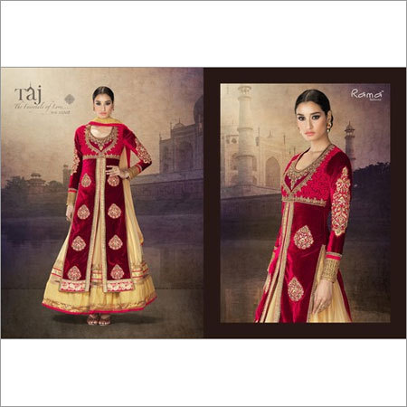 Khatli work front Open Straight suit with Long Gown
