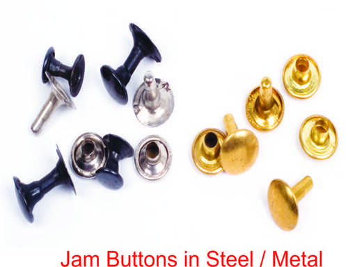 JAM BUTTONS IN STEEL / METAL