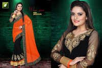 Georgette Embroidered Work Sarees