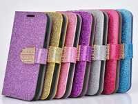 Bling Glitter Flip Wallet PU Leather Cover Stand