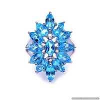 925 Sterlinhg Silver Blue Topaz Gemstone Ring