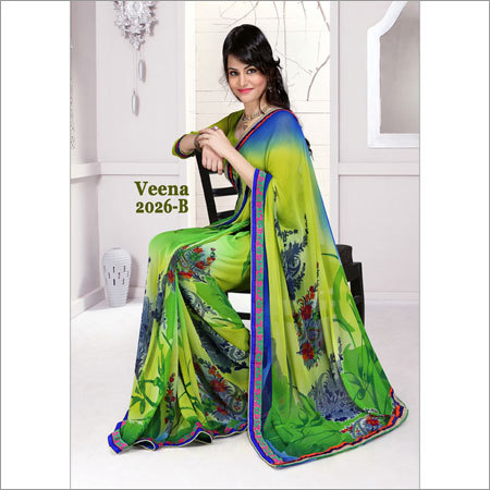Hand Printed Designer Sarees
