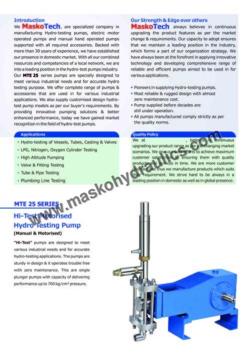 Hydraulic Test Pump Manufacturer, Supplier, Exporter