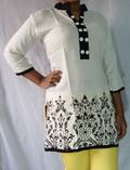Designer Rayon Kurti Flower Multibutton Collar