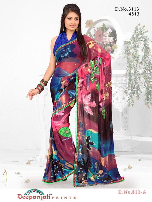 Colorful Work Saree