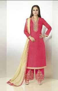 Red Organdy Latest Plazzo Style Suit