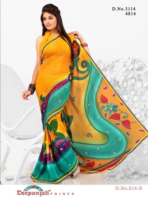 Yellow Color Work Saree