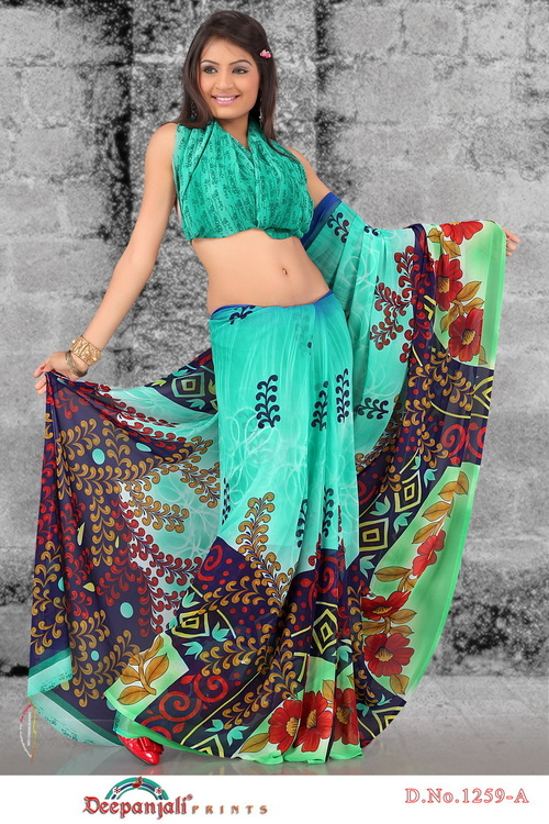 Blue Color Print Sarees