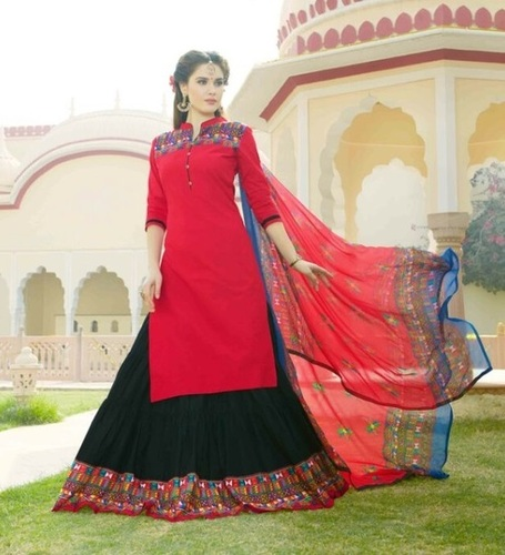 Pink Cotton Designer Lehenga Suit