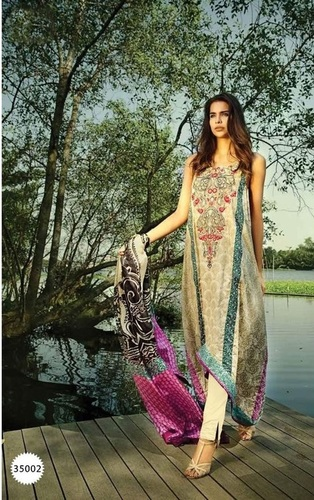 Beige Exclusive Designer Pashmina Suit