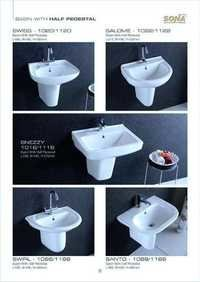 half pedestal basin