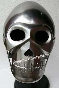 Nickel Finish Armor Skull Helmet