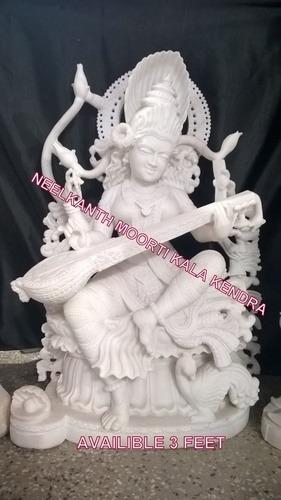 Saraswati white marble statue