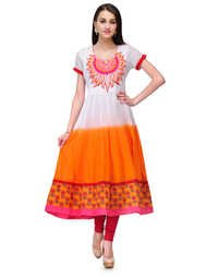 White Orange Kurti