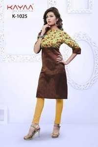 Fancy Designer Brown Long Kurti