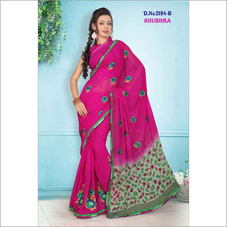 Hand Printed Embroidery Sarees