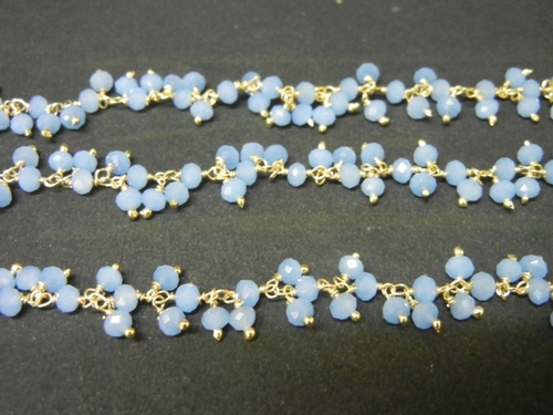 Blue Chalcedony Glass Bead Dangle Chain - Chain Per Meter