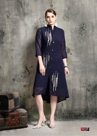 Stylish Embroiderd Georgette and Rayon Kurti