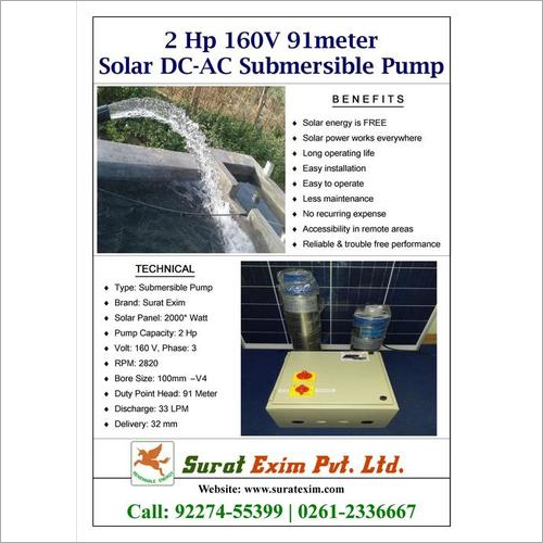 2Hp Solar Agriculture Water Pump