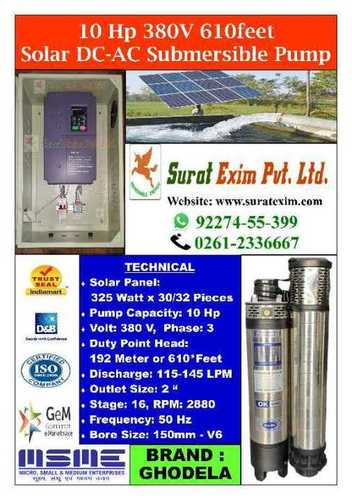 10Hp Solar Powered Industrial Pumps