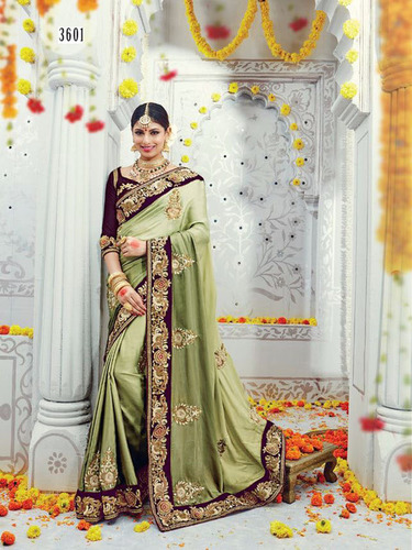 Green Silk Stylish Bridal Wear Saree