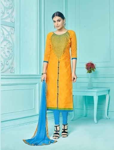 Yellow Cotton Stylish Suit