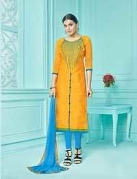 Yellow Cotton Stylish Suit