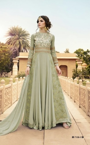 Light Green Designer Georgette Bridal Wear Suit