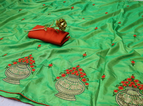 Designer Embroidered Silk Saree