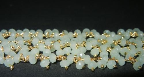 Green Chalcedony Glass Bead Dangle Chain Selling Per Meter