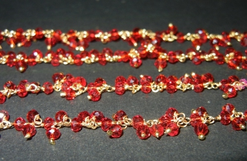 Garnet Glass Bead Gold Plated Dangle Chain - Chain Per Meter
