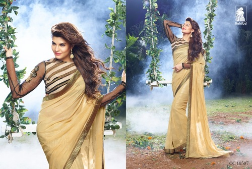 Golden Georgette Saree