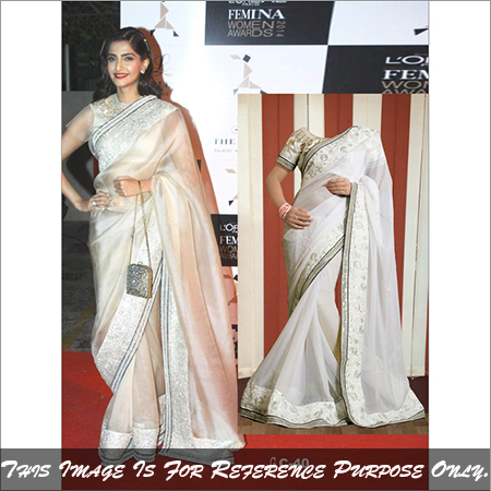 Simple & shower party wear saree
