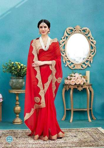 Pure Georgette and Cadbury Silk Embroidery Saree