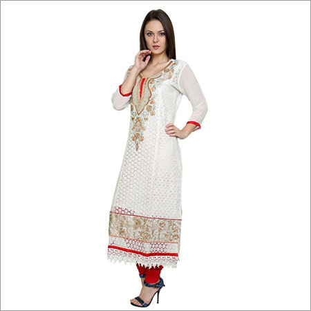 White Faux Georgette Embroidered Long Kurti