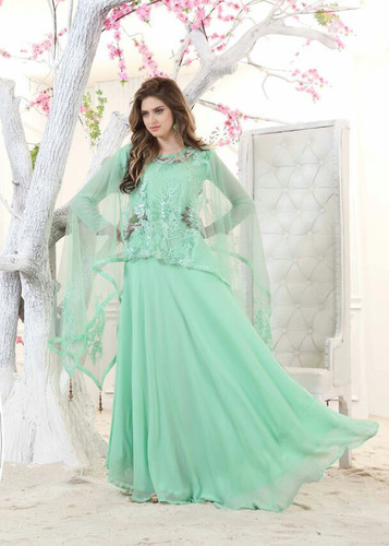 Light Green Soft Georgette Designer Suit