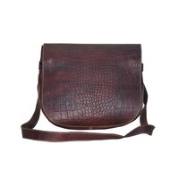 Leather Shoulder Bag in croco print