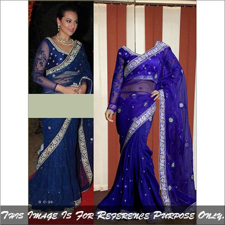 Bollywood Replica Saree Designer Exclusive Blue Color Sari
