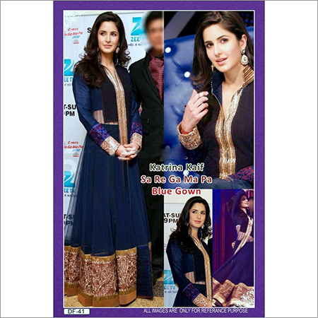 Bollywood replica Designer katrina kaif blue gown Suit