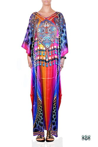 Digital Print Satin Long LuxuryEmbellised Kaftan