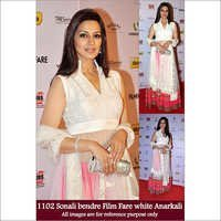 Bollywood replica Designer Sonali Bendre White Anarkali Suit