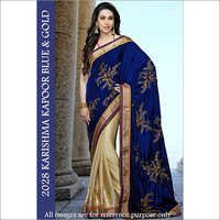 Bollywood Replica Designer  Karishma Fancy Blue & Gold Saari