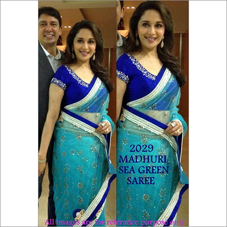 Bollywood replica Designer Madhuri Ethnic Fancy Green Sari