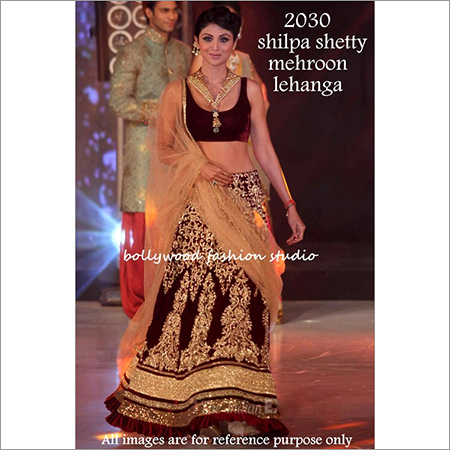 Bollywood replica Designer Shilpa Shetty Velvet Fancy Maharoon Lengha