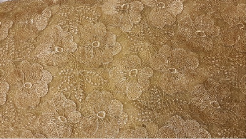 Net Embroidery Gold flower jari fabrics