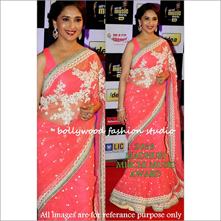 Bollywood replica Designer Madhuri Ethnic Fancy Orange Sari