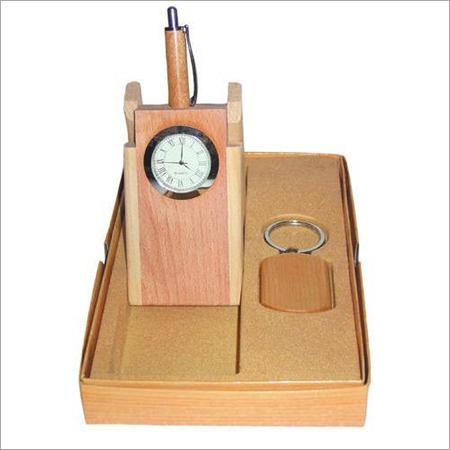 Wooden Pen Holder Cum Clock