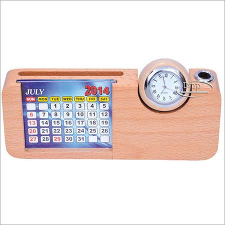 Wooden Calendar Cum Pen Stand
