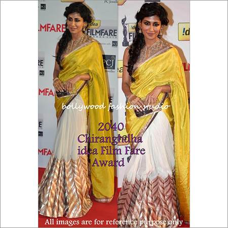 Bollywood replica Designer Chitranghda Fancy Stylish Sari Yellow White